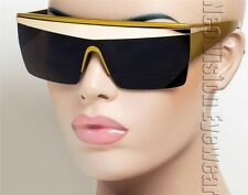 Oversized Flat Top Sunglasses Lady Gaga Pinup Vintage Style Dark Gold ML9
