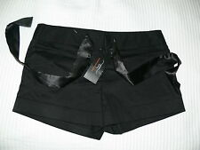 NWT WOMANS BLACK COTTON SATIN SHORTS FROM NEW LOOK - SIZE 10 - CLUB WEAR