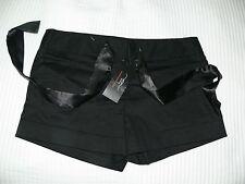 NWT WOMANS Nero Cotone Raso Pantaloncini da NEW LOOK-Taglia 10-Club Wear