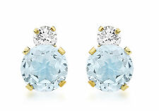 9ct Yellow Gold 6mm Round Blue Topaz and CZ Stud Earrings Solid Gold Box Gift