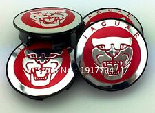 414- ALLOY WHEEL RIM CENTRE HUB CAP JAGUAR LOGO 58 mm XE XJ XF TYRE TIRE RED