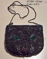 Pretty Beaded Cat Vintage Evening bag