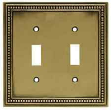 171905 Tumbled Antique Brass Beaded Double Switch Cover Plate