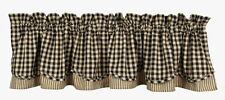 LINED LAYERED CURTAIN VALANCE 72X15.50 HERITAGE HOUSE BLACK CHECK COTTON COUNTRY