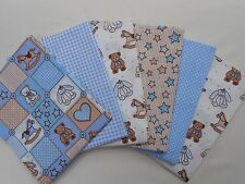 Fabric Fat Quarter Bundle Teddy Baby Boy Blue Nursery 100% Cotton Craft