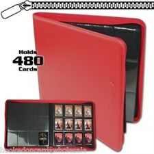 BCW Red Zipper Z-Folio LX Binder Album 12 Pocket Pages Card Storage