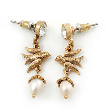 Vintage Inspired Swallow With Freshwater Pearl Drop Earrings In Gold Tone - 35mm