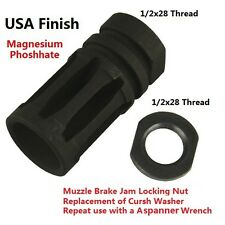 "1/2""x28 Bird Cage Muzzle Brake For .223 223 with 1/2""x28 Jam Nut"