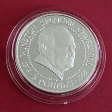 GUERNSEY 1999 WINSTON CHURCHILL SILVER PROOF PLAIN EDGE £5 CROWN