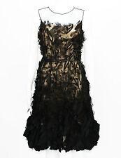 Oscar De La Renta Applique Tulle Organza Cocktail Black Dress US 8