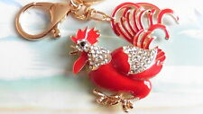 RED COCK ROOSTER rhinestone crystal Keyring/gym/dance/bag charm 214
