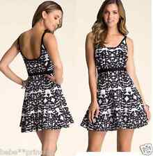 NWT bebe black white sweater bandage fit flare butterfly top dress M medium 6 8