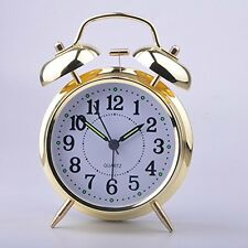 4'' Silent Quartz Analog Twin Bell Table Retro Alarm Clock for Office Bedroom