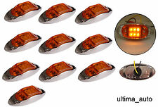 10x 12v LED amber orange side chrome marker lights lamp for trailer truck lorry