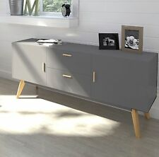 Grey Retro Sideboard Large Cabinet TV Stand Vintage Storage Furniture Big Unit