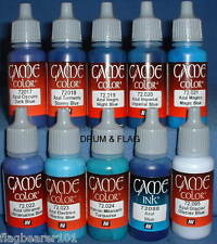 VALLEJO GAME COLOR PAINT - BLUE TONES - 10 BOTTLE SET - WATER BASED ACRYLIC 17ml