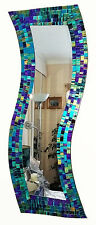Hand made in Bali~Teal purple mosaic curved rectangular wall mirror-NEW