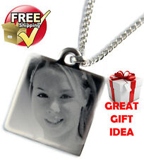Personalised Square Pendant Necklace Engraved with Photo and Text Unique Gift