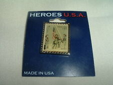 New, HEROES USA 9/11 Stamp Replica Collectible Enamel Silvertone Lapel Pin