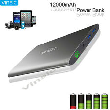 Vinsic 12000mAh Portable Battery Charger Pack External Power Bank for Cell Phone