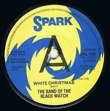 "THE BAND OF THE BLACK WATCH White Christmas 7"" Vinyl Record Promo Spark 1976 EX"