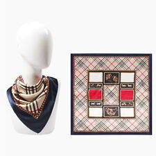 Navy Blue Silk Boho Plaid Pattern Square Border Scarf 329664