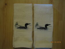 New 2 LOON Hand Towels,Lodge cabin decor, bathroom, kitchen, Pearl Color