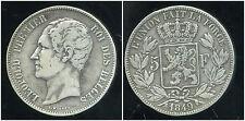 BELGIQUE 5 francs 1849  LEOPOLD I     ARGENT