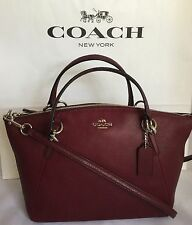 COACH Small Kelsey F36675 Pebbled Leather Shoulder Crossbody Bag SV/Burgundy NWT
