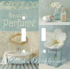 PERSONALIZED ELEGANT BLUE FRENCH SAVON PARFUME DOUBLE LIGHT SWITCH PLATE COVER