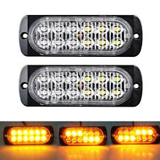 2x Amber 12LED Strobe Light Warning Emergency Caution Construction Car Truck Van