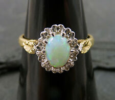 Vintage 18ct Gold Cabochon Opal & Diamond Ring  - Size M 1/2 - Hallmarked 1983