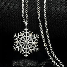 Snowflake Vintage Xmas Frozen Crystal Necklace Pendant Chain Christmas Jewelry H
