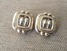 Tiffany & Co RARE VINTAGE Silver 18K Square Weave Rope Clip On Earrings
