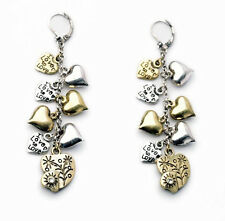 NEW @ Signature Anthropologie Amor Heart Charm Gold Silver Earrings