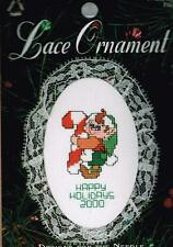 Elf with Candy Cane Lace Ornament Counted Cross Stitch Kit - NEW