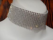 CLEAR CRYSTAL RHINESTONE COLLAR silver-tone wide vinyl choker necklace band S6