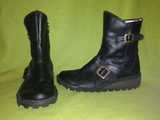 Black Fly London Zip-Up Wedge Boots 6.5