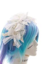 LH-03-01 Weiß Haarschmuck Spitze Braut Gothic Lolita Haarreif Maid Schleife
