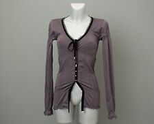 HIGH USE BY CLAIRE CAMPBELL Ladies Grey Seamless Blouse Top Lace Neck Size S