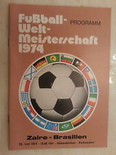1974 World Cup Programme: ZAIRE v BRAZIL- 22nd June