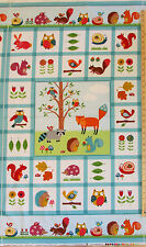 "Woodland Friends Fox Porcupine Owl Raccoon FLANNEL Norhcott Fabric Panel  23"""