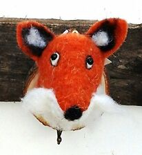 Fox Coat Hook Wall Hanger, gift felt trophy animal head on wooden plaque Felt009