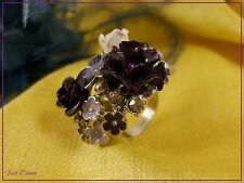 Jon Richard. Cristal & Esmalte oro, púrpura y blanco flor Cluster Anillo (CB)