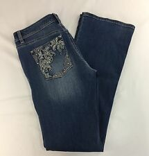 White House Black Market Blanc Jeans Sz 10 Boot Leg Embroidered Rhinestone Denim