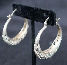 Vintage Stamped 925 Sterling Silver Dangle HOOP Pierced Earrings 13.25g