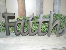 NEW FAITH Word Wood Wooden Sign Freestanding Primitive Country Rustic Dark Tan