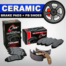 FRONT + REAR SET Ceramic Brake Pads & Parking Emergency Shoes Fits Nissan Altima