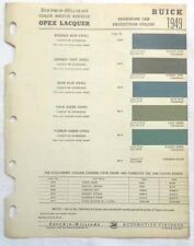 1949  BUICK SHERWIN WILLIAMS  COLOR PAINT CHIP CHART ALL MODELS ORIGINAL
