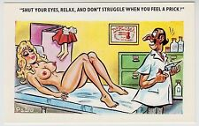 SAUCY POSTCARD - seaside comic, sexy blonde big boobs doctor prick, PEDRO #190